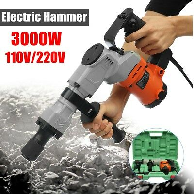 3000W Electric Demolition Hammer Drill Concrete Breaker Punch Jackhammer 3000BPM