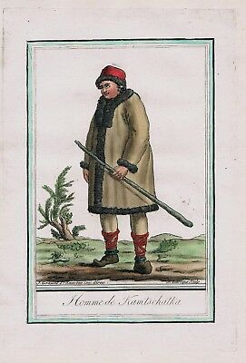1780 - Kamchatka Peninsula Russia Siberia people costume engraving antique 95139