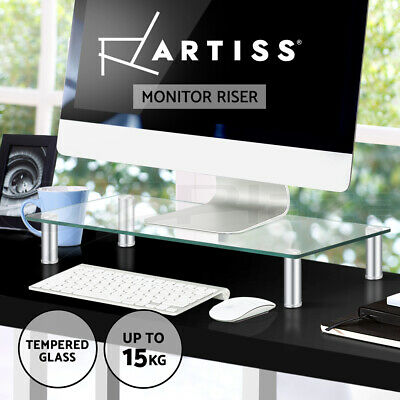 Artiss Monitor Stand Computer Laptop Riser Desktop Glass Bracket LED 60cm x 26cm