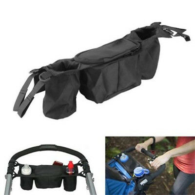 Universal Baby Stroller Parent Console Organizer Double Cup Holder Mummy Bag Hot