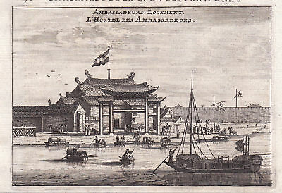 Botschaft embassy ambassador China Asia view Kupferstich antique print Nieuhof
