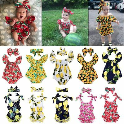 Summer Baby Girls Outfits Fruit Printing Romper Crawling Suit Hair band Set