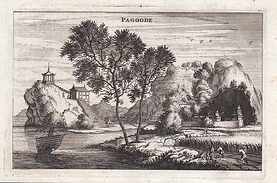 1670 China Asia Pagode pagoda Ansicht view Kupferstich antique print Nieuhof