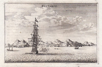 Heytamon Schiff ship Asia China Ansicht view Kupferstich antique print Nieuhof