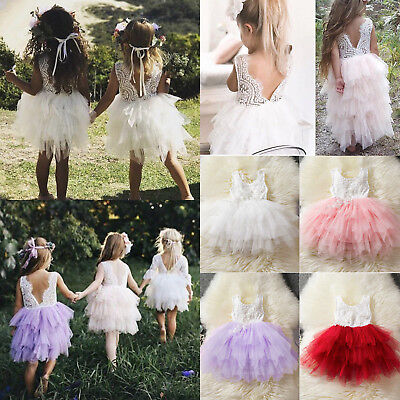 Baby Kids Princess Flower Girls Tulle Tutu Dress Wedding Bridesmaid Party Dress