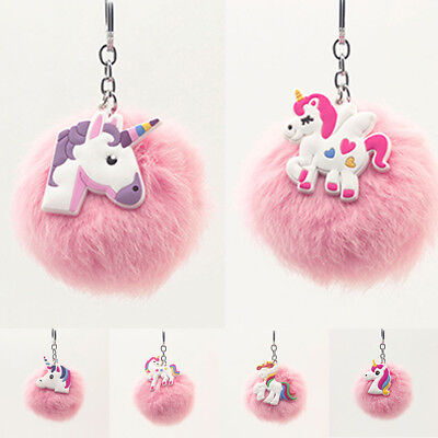 Unicorn Rabbit Fur Ball Fluffy Pompon Key Chains Women Bag Car Keyring Holder