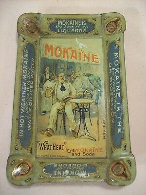 1910s~MOKAINE LIQUEURS~FRENCH DISTILLERY ADVERTISING TIN TIP TRAY~COLOR GRAPHICS