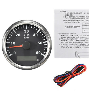Boat RPM Meter Tachometer Hourmeter 0-6000 RPM 85mm black