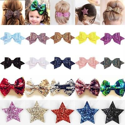"Cute Bling Sparkly Glitter Sequins Big 5"" Hair Bows For Girls Alligator Clips"