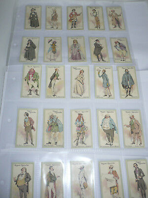 set of 25 original cigarette cards john player & sons characters from thackeray