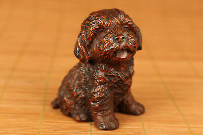 Nice Chinese Old Boxwood Handmade Carved Dog Statue Netsuke
