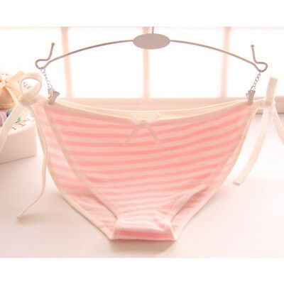 1PC Cute Girls Cotton Underpants Lolita Striped Lady Underwear Panty Lacing Up