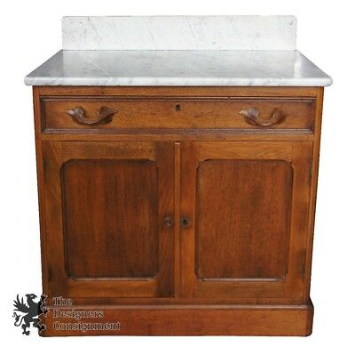 Antique 19th Cent. Mitchell & Rammelsberg Victorian Marble Top Ashwood Washstand