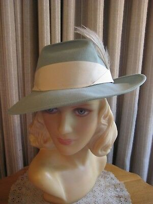 Jaunty 40's Light Blue Felt Fedora Style Hat W/ Side Feathers