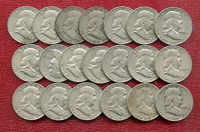 $10 Face = 20 Coins ~ Franklin Half Dollars ~ Circulated ~ Various Condition