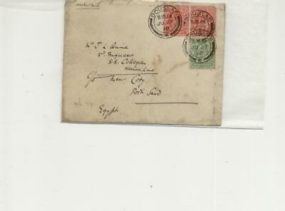 Isle of Man 1910 Douglas cancelled envelope with Port Said Arrival mark on rear