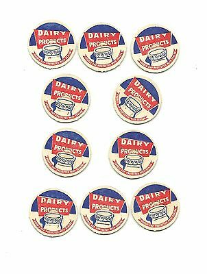 Lot of 10 Dairy Products Milk Bottle Caps Unused New Old Stock Vintage Ephemera