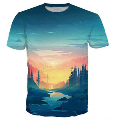 New Women Men Mountain Scenery Print Casual 3D T-Shirt Short Sleeve Tops Tee The