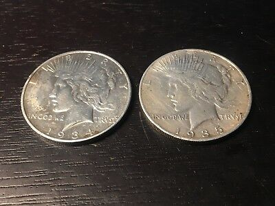 Lot of 2 Key Date Peace Silver Dollars - 1934-D and 1935-S - US Coins