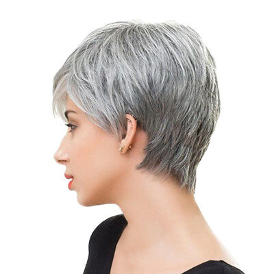 Charming Women Short Layered Real Human Hair Wigs with Free Cap Silver Gray