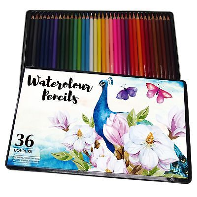 36 Professional Premium High Quality Watercolour Pencils Water Colour Tin Artist