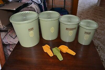 Tupperware Vintage Canisters Set Of 4 With 3 Scoops - Olive Green