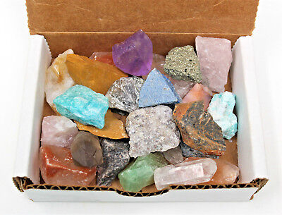 Bulk MINIATURE Minerals Crafters Collection 1/2 lb Box Gems Crystals Natural Raw