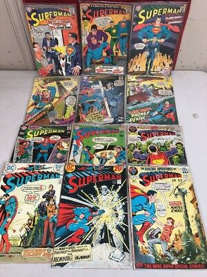 DC Comics Superman Comic Lot of 12 1967- Various Issues/Years Boarded/Bagged