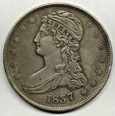 1837 United States Silver Early Capped Bust Half Dollar Reeded Edge