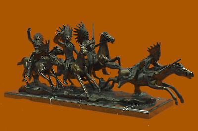 Carl Kauba Five Indian on Horse Bronze Sculpture Western Art Marble Figurine LRG