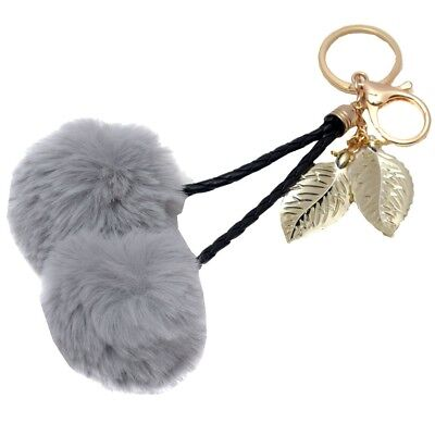 Melie Bianco Girls Gray Faux Cherry Pom Pom Gold Leaf Keychain