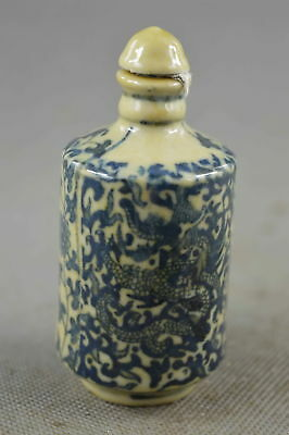 Collection Handwork Decor Old Porcelain Paint Dragon & Flower Lucky Snuff Bottle