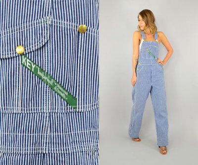 Key Imperial Women's Blue Striped 70's Engineer Oversized Overalls Size 34 x 32