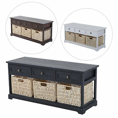 Entryway Wooden Storage Bench with 3 Drawers Baskets Home Furniture Organizer