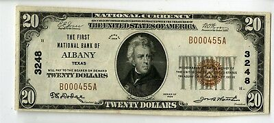 1929 $20 First National Bank Of Albany Texas National Banknote