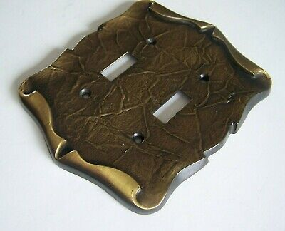 Vintage Amerock Carriage House Antique Brass Light Double Switch Plate Cover