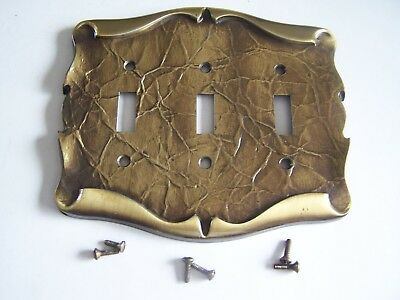 Vintage Amerock Carriage House Antique Brass Light Triple Switch Plate Cover