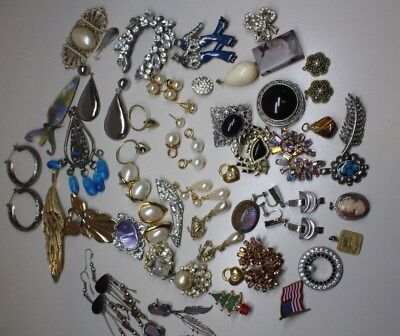 Vintage mixed lot of types  Earrins and Brooch Pin. around 40 pcs