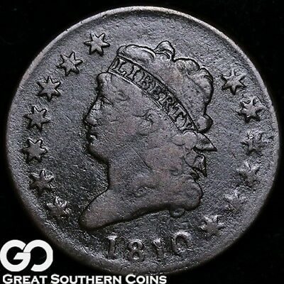 1810 Large Cent, Classic Head, Tough FINE+ Early Copper!