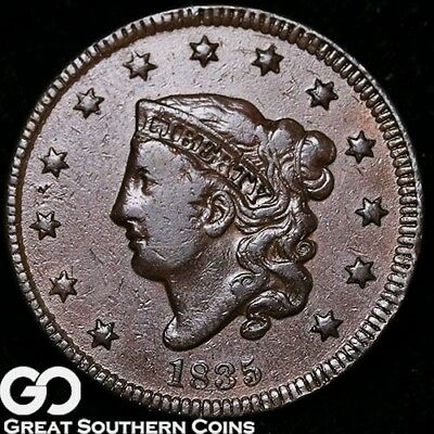1835 Large Cent, Coronet Head, Tough Early Copper
