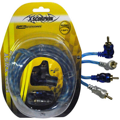 Rca Cable 15' Right Angle Blue/Platinum Twisted