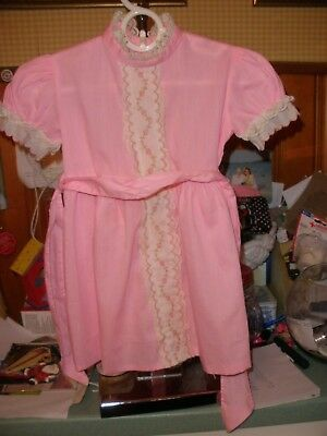 Vintage 1960s Pink Embroidered Baby Toddler Dress 2T to 3T