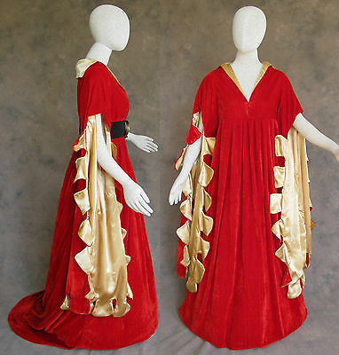 Red Scalloped Renaissance Medieval Dress SCA Ren Faire Game of Thrones LOTR M