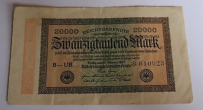 Germany Inflation Weimar 20000 Mark 1923 RO 84b USED USED