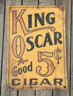 Antique c1900 American King Oscar 5 Cent Cigars Tin Sign Cigar Store Sign