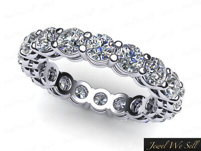 Natural 3ct Round Brilliant Cut Diamond Shared Prong Open Gallery Eternity Band