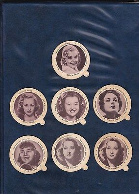 1939 DIXIE LID LOT  7 SMALL MOVIE STAR LIDS   includes SONJA HENIE  AUTHENTIC