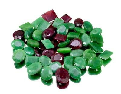 360ct / 47pcs Natural Emerald Ruby Faceted UK Ring Size Gemstone Wholesale Lot