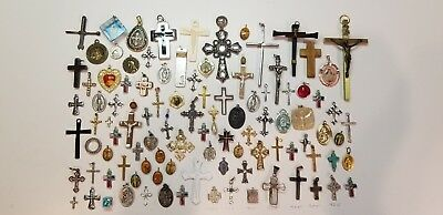 Lot of 100 Vintage Now Catholic Religious Holy Medals Cross Pendants Charms 925
