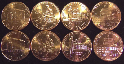 Lincoln Bicentennial Pennies 2009 Set of 8  Un circulated Coins from 2 Mints!